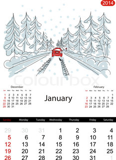 Calendar 2014, january Streets of the city, sketch for your design