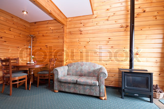 Lodge apartment interior with fireplace
