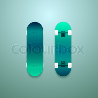 set von vektor skateboards neon farbfl che gr n cyan detailgetreue ober und unterseite. Black Bedroom Furniture Sets. Home Design Ideas