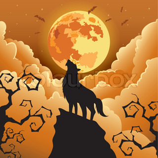 Silhouette Wolf howling at the moon ,Halloween Vector illustration.