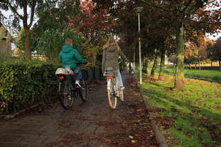 Fallen leaves, kids, boy and girl in warm coats are biking to school in the morning in autumn.
