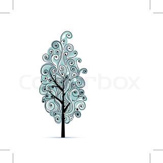 Abstract wavy blue tree for your design