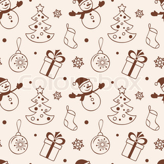 Light christmas seamless background with snowman, fir tree, gift, sock and baubles