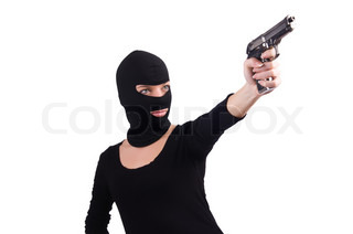 Burglar with handgun isolated on white
