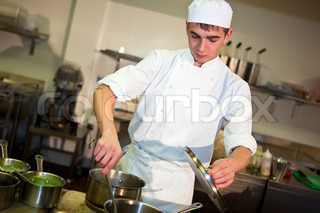 Young male chef cooking meal
