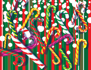 Christmas Festive background with candy lollipops