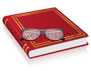 red book and glasses illustration