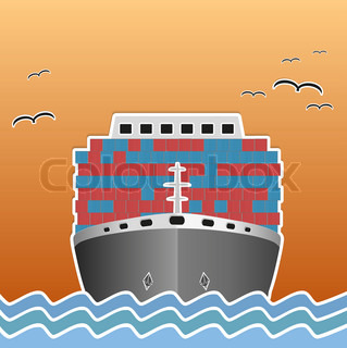 Illustration of a cargo ship traveling