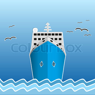 Illustration of the scientific research or fisherman nautical vessel Background of trendy style with paper applications is and origami