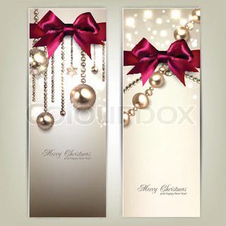 Elegant Christmas banners with golden baubles and red bows Vector illustration