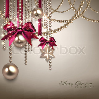 Elegant Christmas background with red ribbons and golden garland Vector illustration