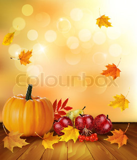 Autumn background with fresh fruit and leaves. Healthy Food. Vector illustration