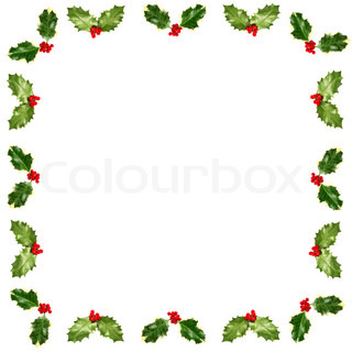 Holly Leaves With Red Berries Forming An Abstract Square