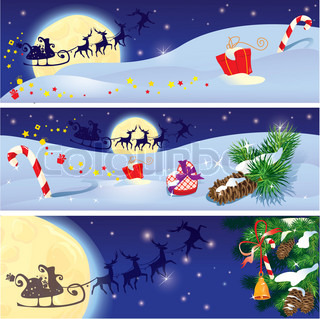 Set of Christmas and New Year horizontal banners with flying reindeers on sky background with fir tree branches and presents