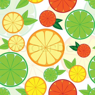 Seamless pattern with colorful citrus