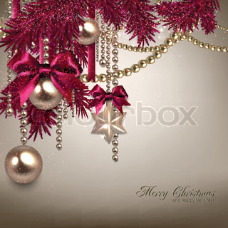 Elegant Christmas background with golden garland Vector illustration