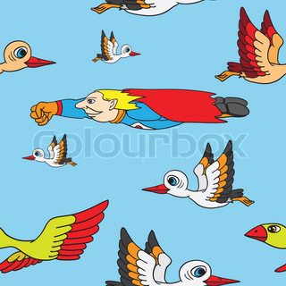 Seamless background Birds and superman flying in the sky