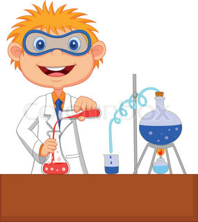 Boy cartoon doing chemical experiment
