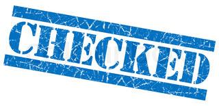 Checked grunge blue stamp