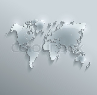 raster world map glass card paper 3D