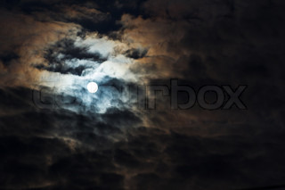 moon on cloudy sky