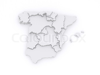 Three-dimensional map of Spain