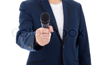 news reporter journalist interviews a person holding up the microphone