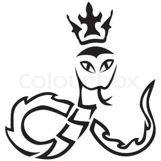 tribal. A snake with a crown