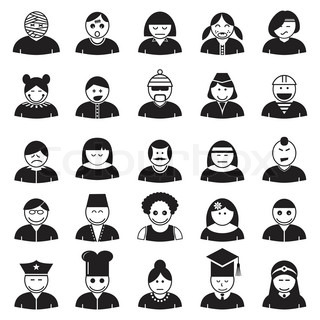 People face avatar icons set, vector format