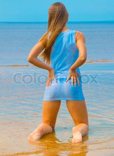 Beach Woman Kneeling