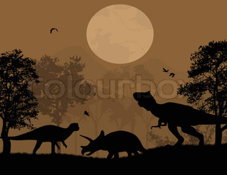 Dinosaurs silhouettes in wildscape