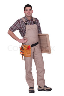Carpenter with wooden door