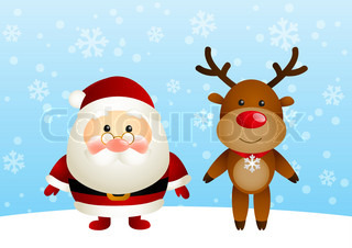 Cute Santa with funny deer