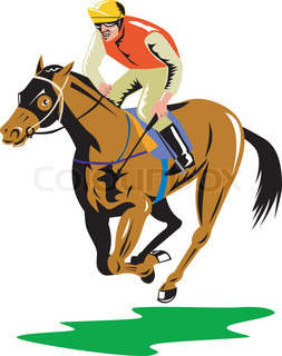 Illustration Of A Horse And Jockey Racing On Isolated