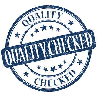 Quality checked grunge blue round stamp