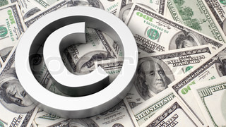 Copyright sign on the dollar background
