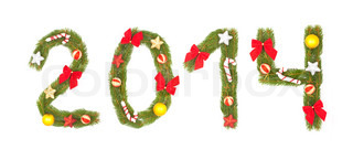 2014 number written by christmas tree branches isolated on a white background