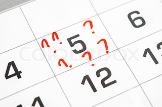 question marks on the calendar at 5
