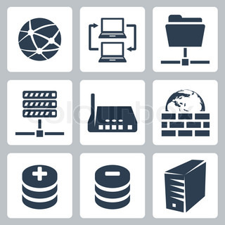 Vector isolated computer network icons set | Vector ...