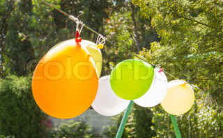 Balloons for games in a childhood garden party