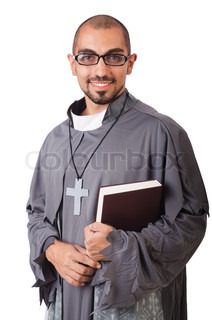 Young priest isolated on the white