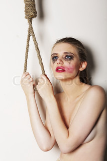 Sacrifice Despair Silly Woman in Sorrow wants to Kill herself Suicide