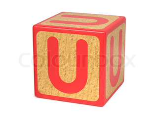 Letter U on Red Wooden Childrens Alphabet Block Isolated