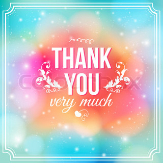 Thank you card on soft colorful background