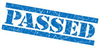 Passed grunge blue stamp