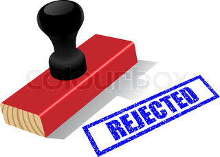 "Wooden rubber stamp with ""Rejected""  impress isolated on white background."