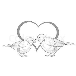 A monochrome sketch of a couple of birds with a heart