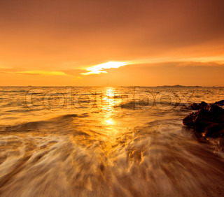 Wave beach and sea sunset
