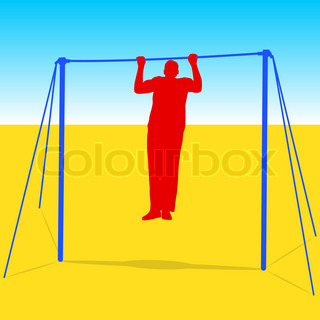 Silhouette of an athlete on the horizontal bar Vector illustration