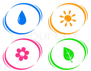 round icons with water drop, sun, flower and green leaf